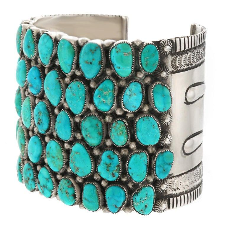 Native American Huge Navajo Turquoise-Set Sterling Bracelet