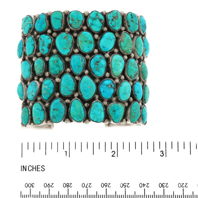 Huge Navajo Turquoise-Set Sterling Bracelet 1
