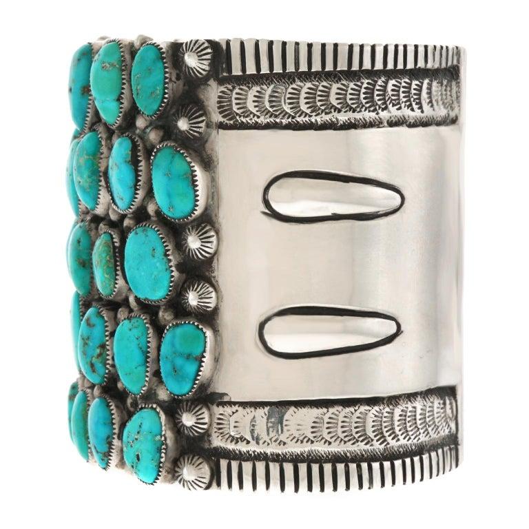 Huge Navajo Turquoise-Set Sterling Bracelet 2