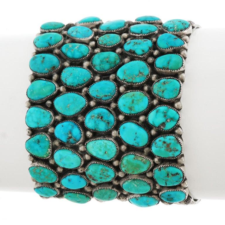Huge Navajo Turquoise-Set Sterling Bracelet 3