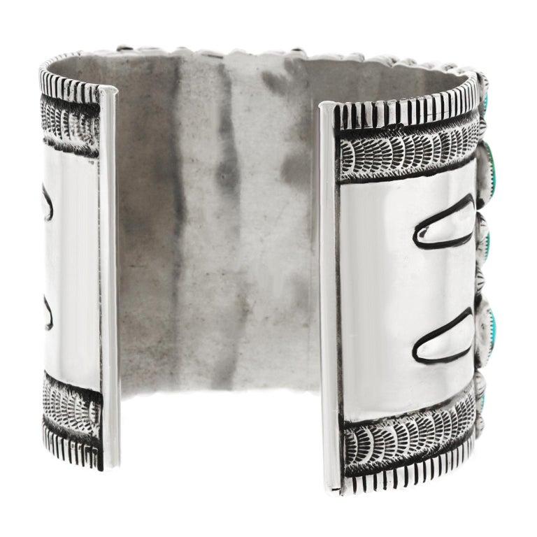 Huge Navajo Turquoise-Set Sterling Bracelet 4