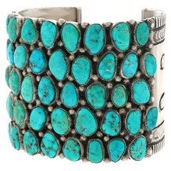 Huge Navajo Turquoise-Set Sterling Bracelet