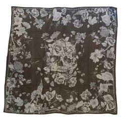 Huge New Alexander Mcqueen Silk Skull, Roses and Insect Semi-Sheer Black Scarf