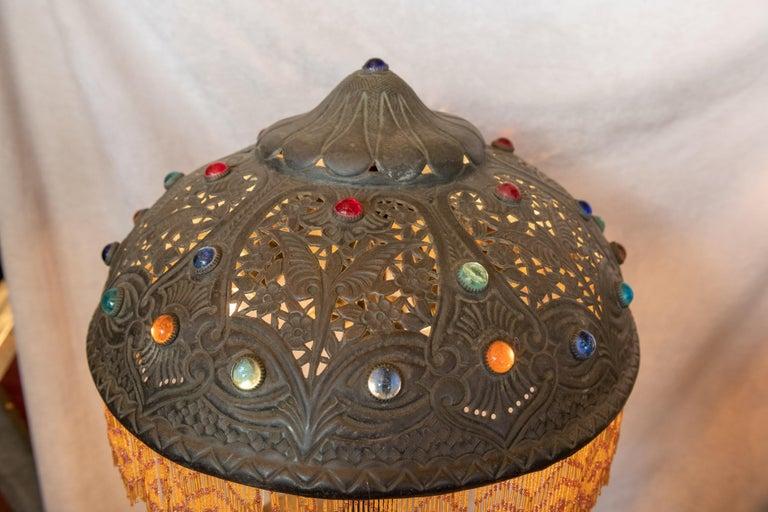 Huge Orientalist Theme Statue / Lamp w/Arab Woman Under a Brass Shade w/ Jewels For Sale 3