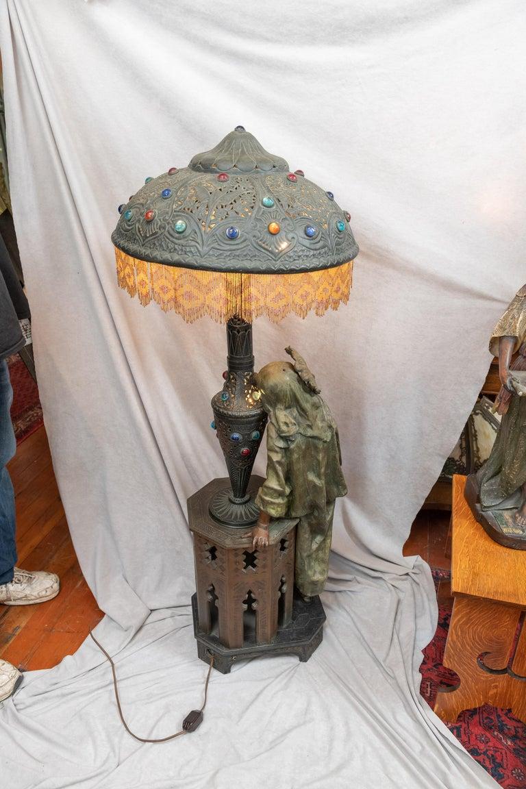 Huge Orientalist Theme Statue / Lamp w/Arab Woman Under a Brass Shade w/ Jewels For Sale 4