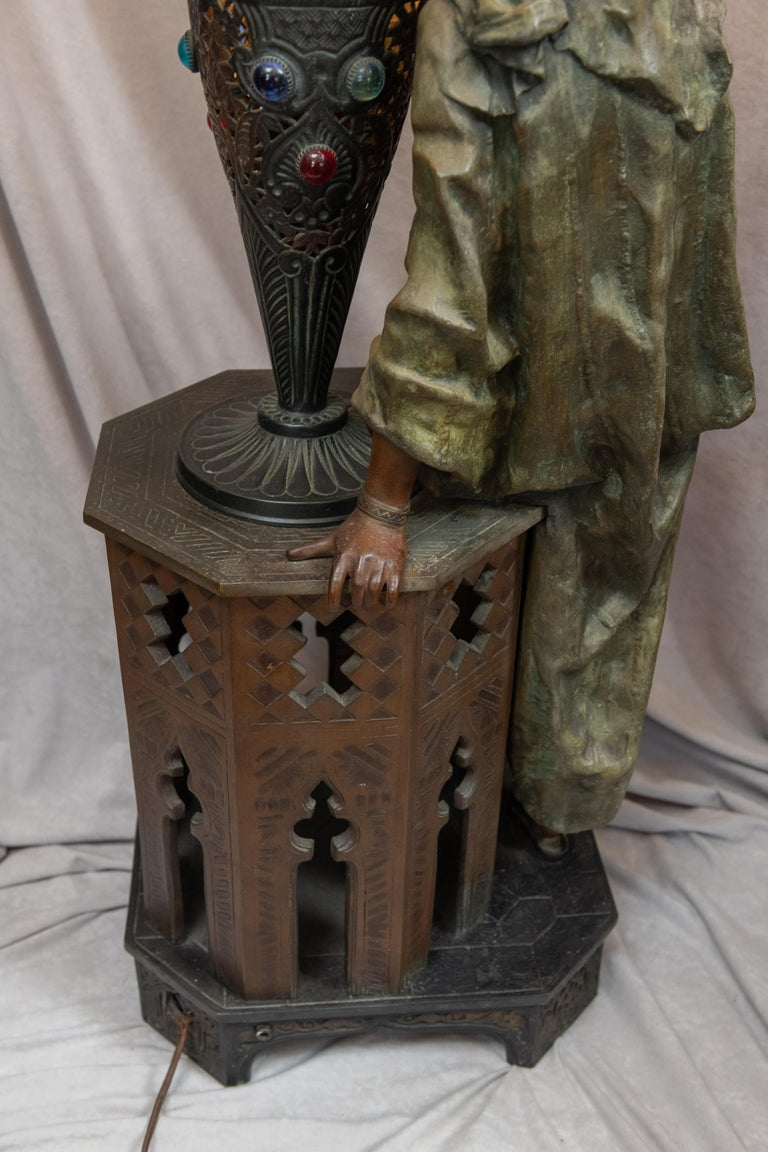 Huge Orientalist Theme Statue / Lamp w/Arab Woman Under a Brass Shade w/ Jewels For Sale 5