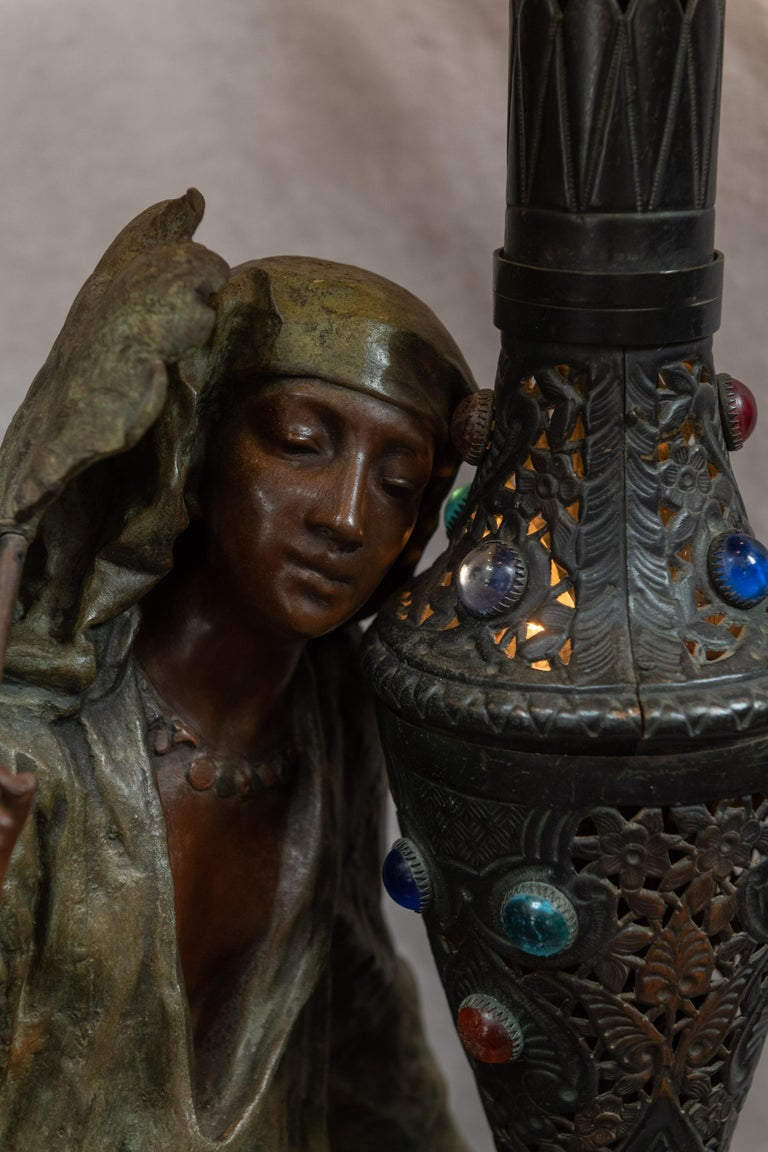 Hand-Crafted Huge Orientalist Theme Statue / Lamp w/Arab Woman Under a Brass Shade w/ Jewels For Sale