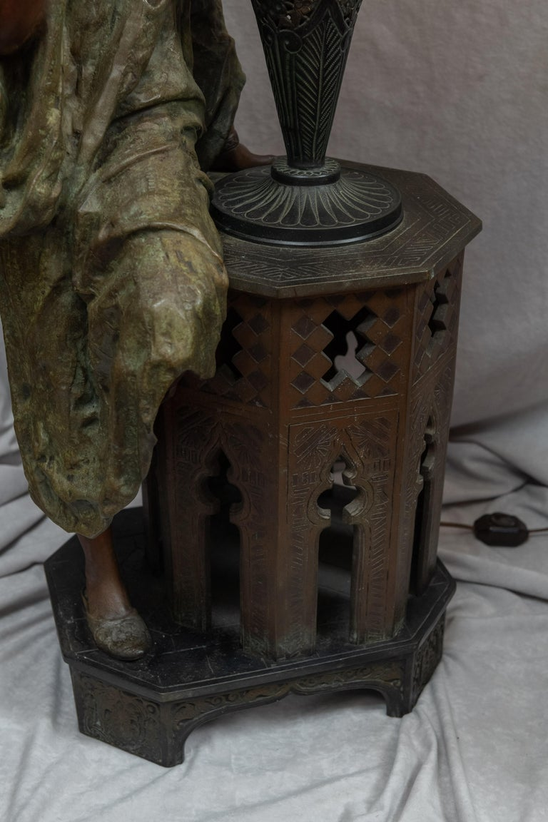 Huge Orientalist Theme Statue / Lamp w/Arab Woman Under a Brass Shade w/ Jewels In Good Condition For Sale In San Francisco, CA