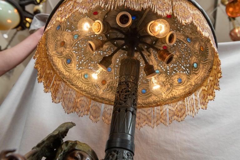 Huge Orientalist Theme Statue / Lamp w/Arab Woman Under a Brass Shade w/ Jewels For Sale 1