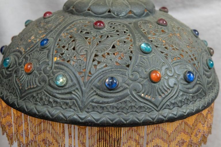 Huge Orientalist Theme Statue / Lamp w/Arab Woman Under a Brass Shade w/ Jewels For Sale 2