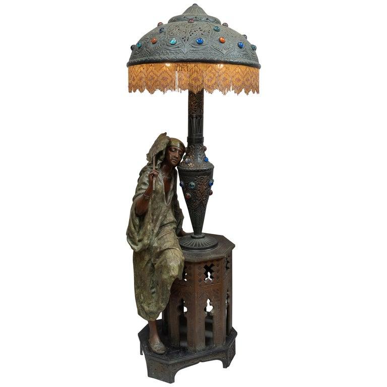 Huge Orientalist Theme Statue / Lamp w/Arab Woman Under a Brass Shade w/ Jewels For Sale