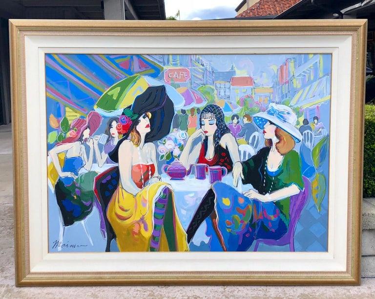 1693150ec1830 Huge Original Isaac Maimon Oil Painting of a Jazzy Parisian Al Fresco Cafe  Scene