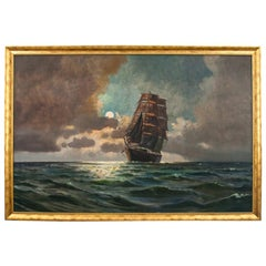 "Huge Painting ""A Ship on the High Sea"", Scandinavia, Early 20th Century"