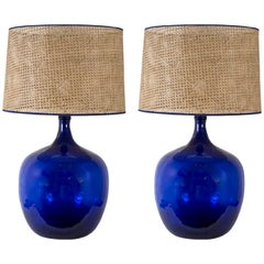 Huge Pair of Blue Glass Lamps