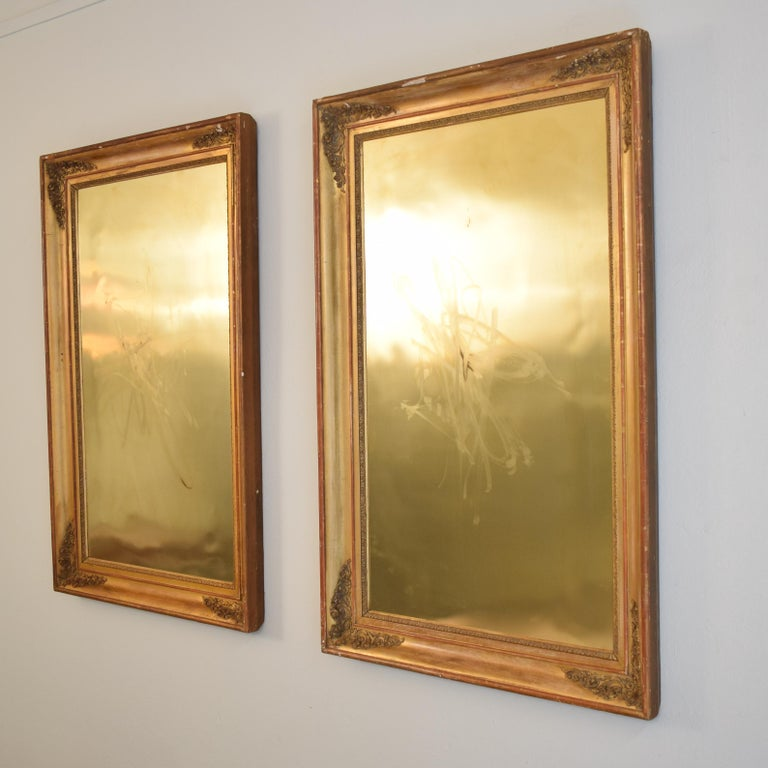 This huge pair of late 19th century frames have beautiful details and water gilding and are in original condition.