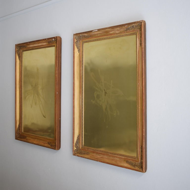 Huge Pair of Late 19th Century Frames with Modern Paintings on Brass For Sale 3