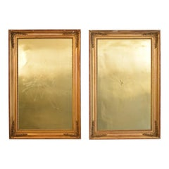 Huge Pair of Late 19th Century Frames with Modern Paintings on Brass