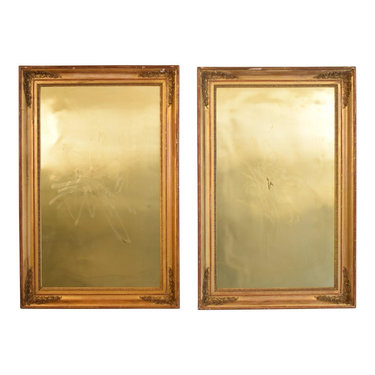 Huge Pair of Late 19th Century Frames with Modern Paintings on Brass For Sale