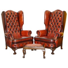 Huge Pair of Victorian Chesterfield Restored Brown Leather Armchairs & Footstool