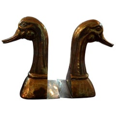 Huge Pair of Vintage Polished Brass Duck Bookends by Sarreid Ltd.