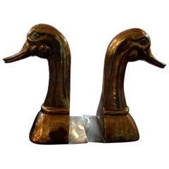 Huge Pair of Vintage Polished Brass Duck Bookends by Sarreid Ltd.