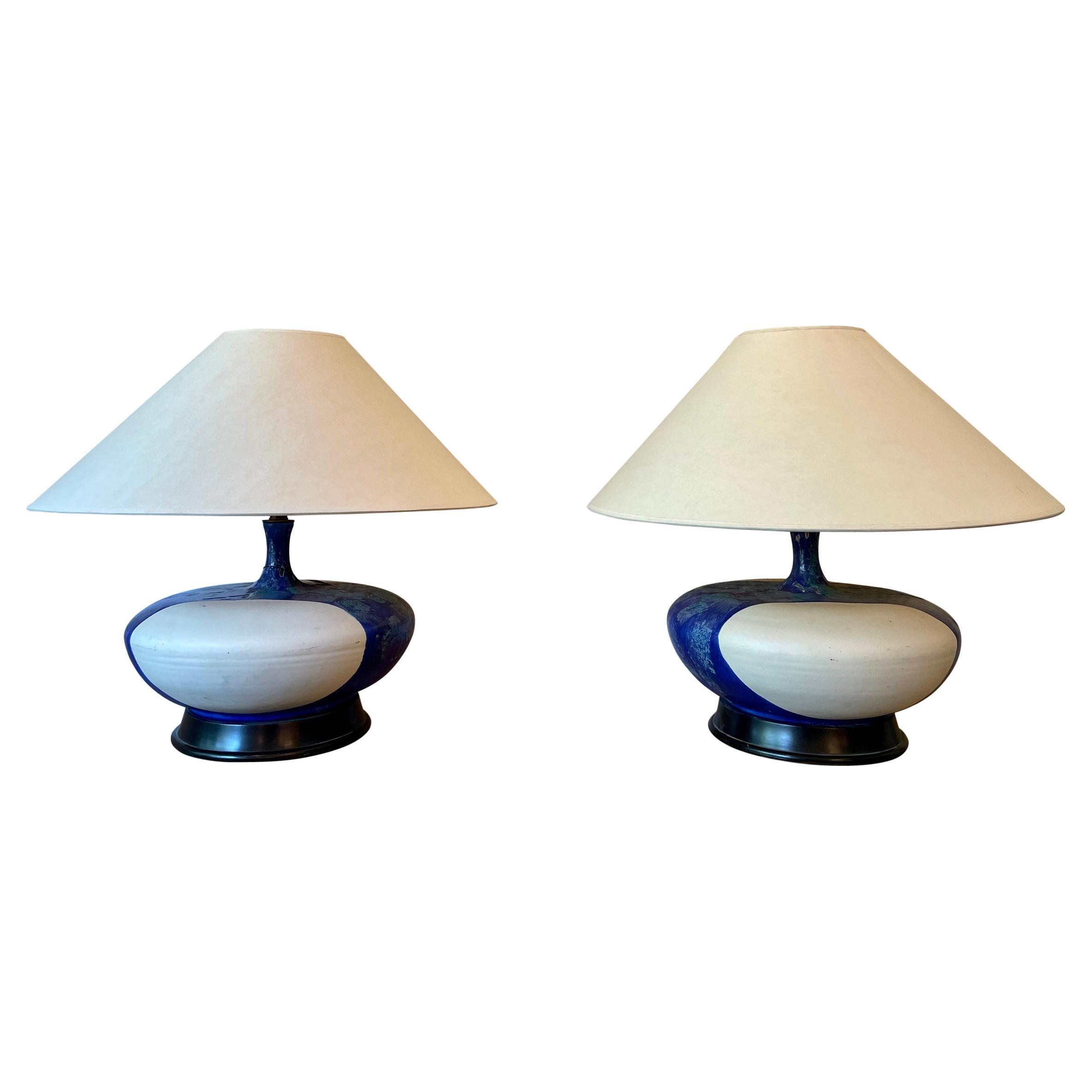 Huge Pair of Volcanic Lava Ceramic Lamp, 1960's