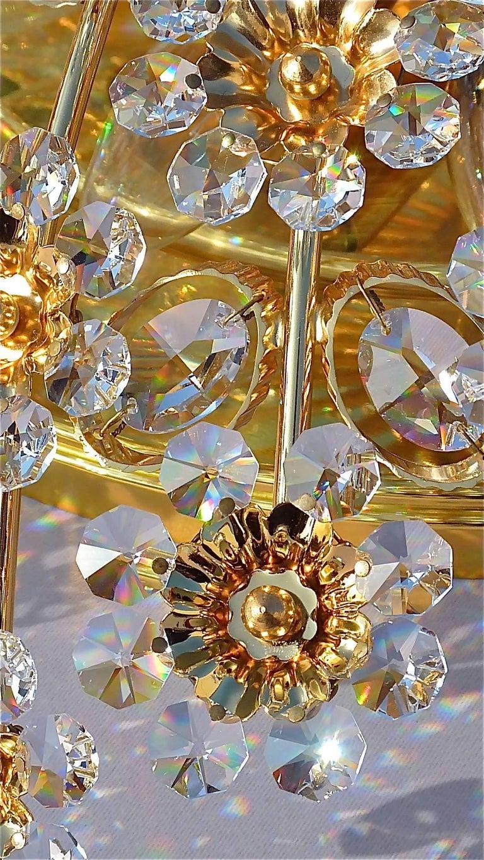 Hugo Palwa Kronleuchter aus Vergoldetem Messing in Blumenstrauß Form mit Kristallen, 1960 6