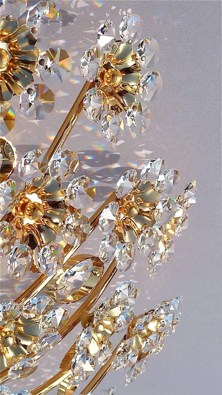 Hugo Palwa Kronleuchter aus Vergoldetem Messing in Blumenstrauß Form mit Kristallen, 1960 7