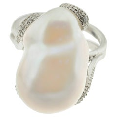 Huge Pearl and Diamond Cocktail Ring in 18 Karat White Gold
