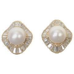 Huge Pearl and Diamond Earrings