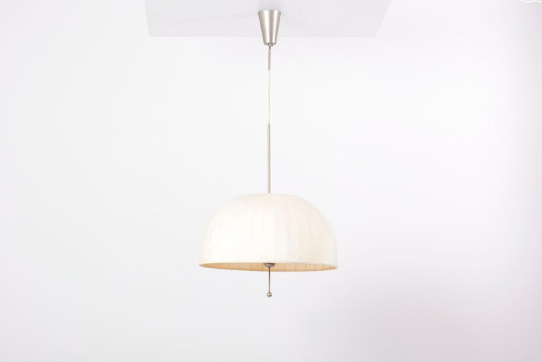 Pendant lamp, huge model of T549, in steel. Designed by Hans-Agne Jakobsson in 1960s and manufactured by AB Markaryd in Sweden. Original Shade with some wear in color.   6 x E27 sockets, each with a maximum of 60 watts.  Please note: Lamp should
