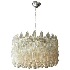 Huge Polyhedral Murano Glass Drum Chandelier in the Manner of Venini