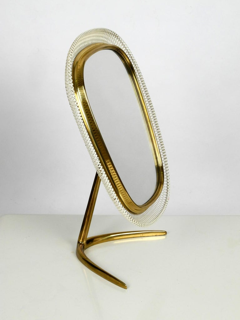 Huge Portable Mid Century Modern Table Mirror With Brass