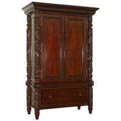 Huge Ralph Lauren Safari Collection Solid American Mahogany Television Cabinet