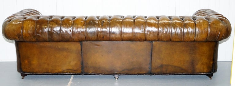 Huge Rare Victorian Horse Hair Fully Restored Brown Leather Chesterfield Sofa For Sale 13