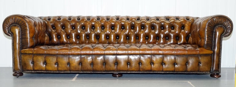 English Huge Rare Victorian Horse Hair Fully Restored Brown Leather Chesterfield Sofa For Sale