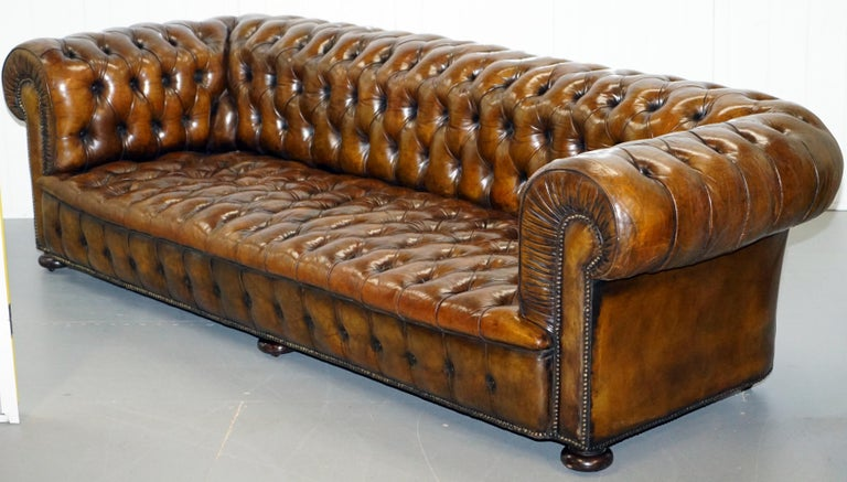 Hand-Crafted Huge Rare Victorian Horse Hair Fully Restored Brown Leather Chesterfield Sofa For Sale