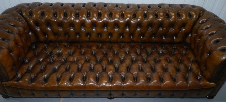 19th Century Huge Rare Victorian Horse Hair Fully Restored Brown Leather Chesterfield Sofa For Sale