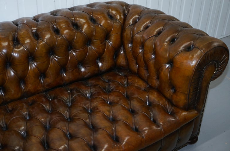 Huge Rare Victorian Horse Hair Fully Restored Brown Leather Chesterfield Sofa For Sale 1