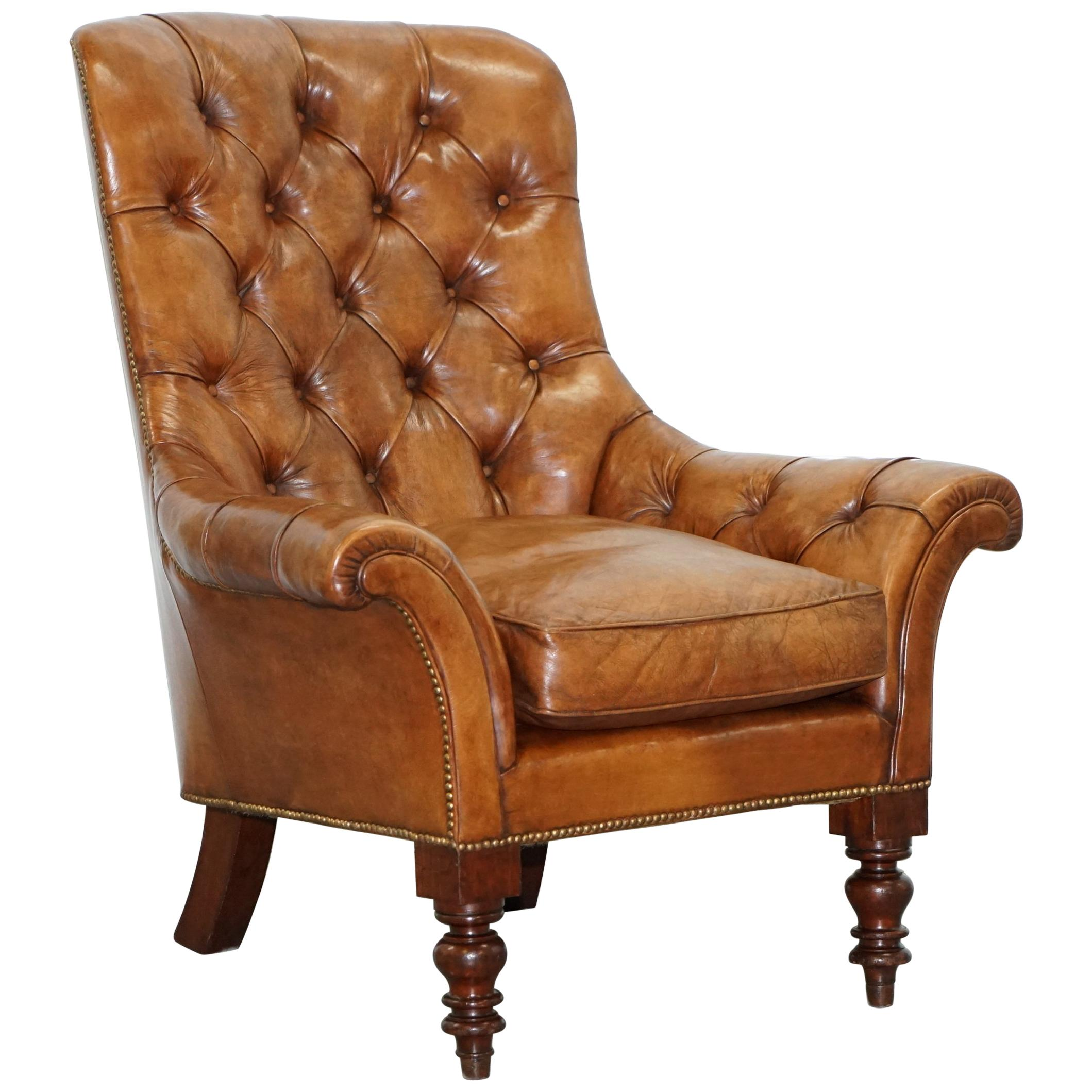 Fully restored edwardian aged brown leather library reading armchair circa 1900 for sale at 1stdibs