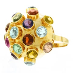Huge Retro 1940s Multi Stone Gold Sputnik Ring
