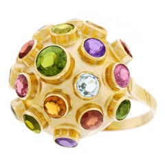 Retro 1940s Multi Stone Gold Sputnik Ring