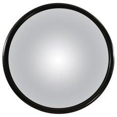Huge Round Convex Mirror Black Wooden Outline