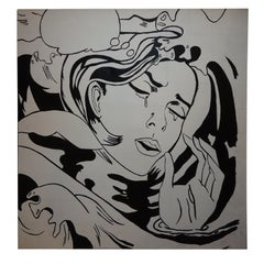 Huge Roy Lichtenstein Style Oil on Canvas of Girl Crying- approx. 3.5' x 3.5'