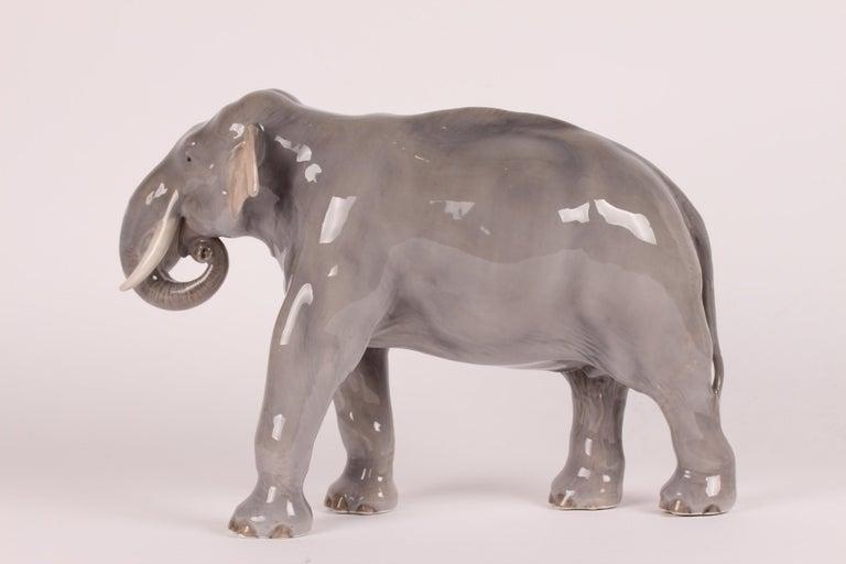 Glazed Huge Royal Copenhagen Elephant Figure Designed, Theodor Madsen Denmark 1923-1934 For Sale