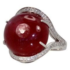 Huge Ruby Cabochon 27.15 Carat Diamond Surround