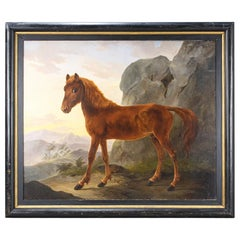 Huge Scale Country House Oil on Canvas Painting of a Foal