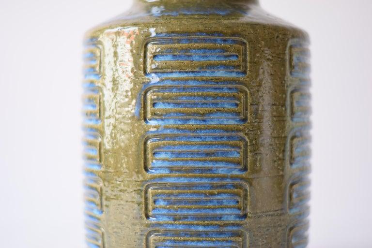 Palshus Denmark Huge Ceramic Vase Green and Blue by Per Linnemann-Schmidt, 1960s In Good Condition For Sale In Aarhus C, DK