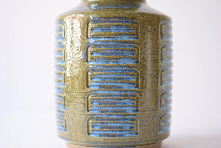 Mid-20th Century Palshus Denmark Huge Ceramic Vase Green and Blue by Per Linnemann-Schmidt, 1960s For Sale