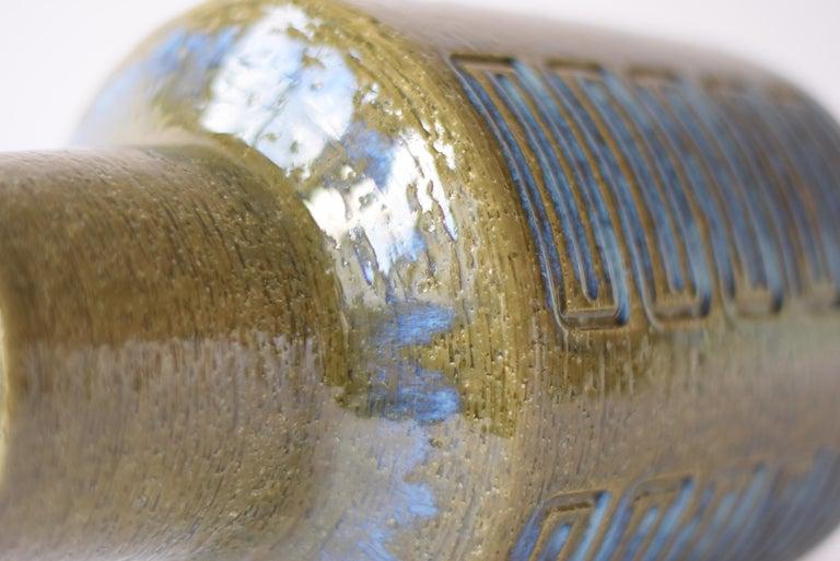 Palshus Denmark Huge Ceramic Vase Green and Blue by Per Linnemann-Schmidt, 1960s For Sale 2